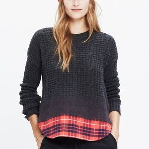 Madewell Wintermix Plaid Cable Pullover Sweater